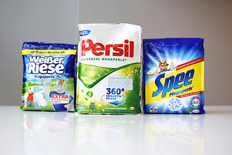 "Henkel sells its Megaperls washing powder in a flexible package called ""quadro seal bag"""